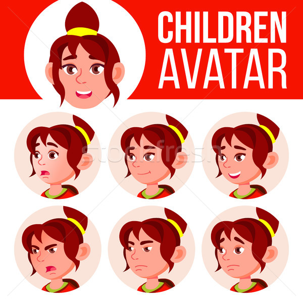 девушки Аватара набор Kid вектора школу Сток-фото © pikepicture