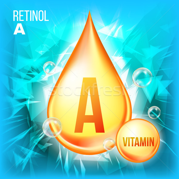 Vitamine vector goud olie drop icon Stockfoto © pikepicture