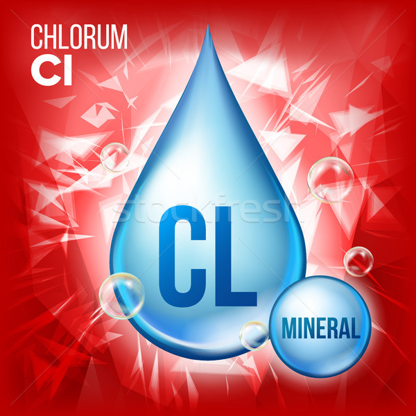 Cl Chlorum Vector. Mineral Blue Drop Icon. Vitamin Liquid Droplet Icon. Substance For Beauty, Cosmet Stock photo © pikepicture