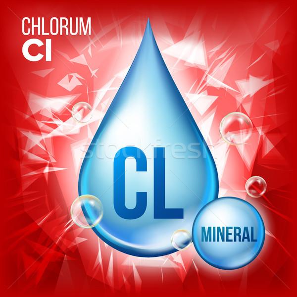 Vektor Mineral blau Drop Symbol Vitamin Stock foto © pikepicture