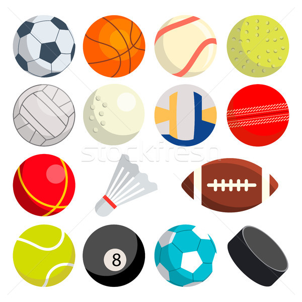 Sport Balls Set Vector. Round Sport Equipment. Game Classic Balls. Gaming Icons. Soccer, Rugby, Base Stock photo © pikepicture