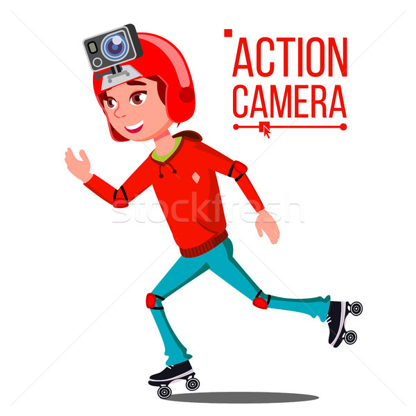 Enfant fille action caméra vecteur adolescent Photo stock © pikepicture