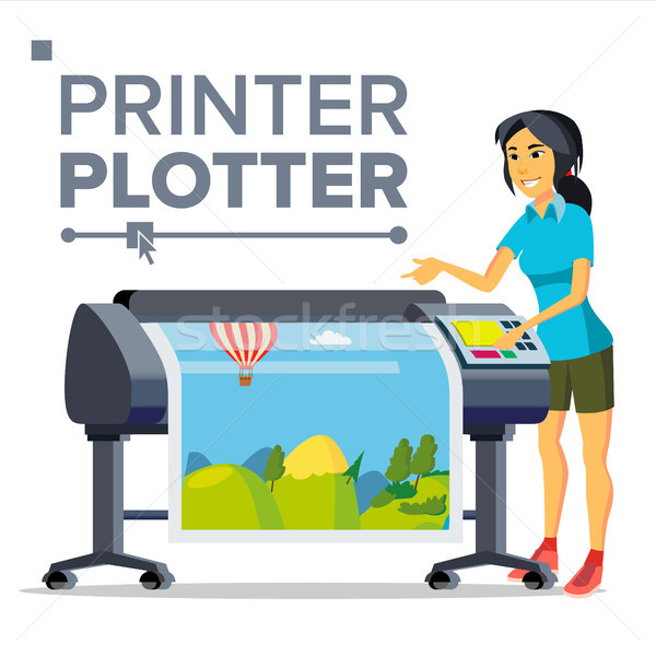 Worker With Plotter Vector. Woman. Full Color Latex, Laser Printer. Printshop Service. Isolated Flat Stock photo © pikepicture