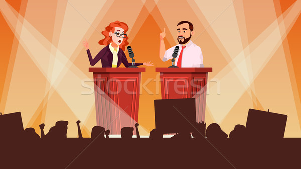 Political Meeting Vector. Debates Concept. Leading Presentation. Tribune. Candidate Speech. People C Stock photo © pikepicture