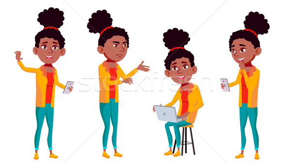 Teen Girl Poses Set Vector. Black. Afro American. Active, Expression. For Presentation, Print, Invit Stock photo © pikepicture