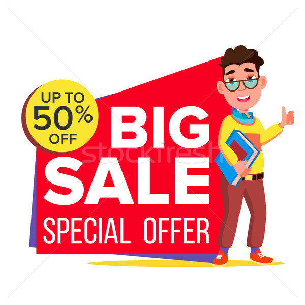 Big Sale Banner Vector. School Children, Pupil. Template For Advertising. Discount Tag, Special Offe Stock photo © pikepicture