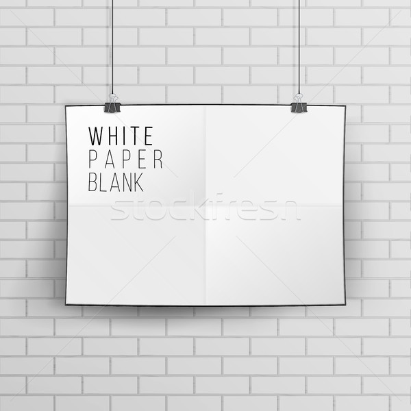 White Blank Paper Wall Poster Mock up Template Vector. Realistic Illustration. Brick Wall. Stock photo © pikepicture