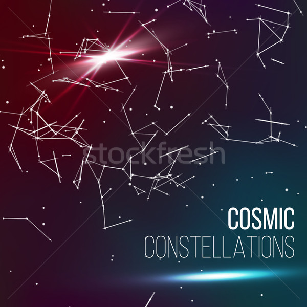 Cosmic Constellations Background Vector. Abstract Glowing Space Pisces Stock photo © pikepicture