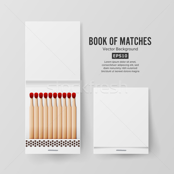 Book Of Matches Vector. Top View Closed Opened Blank. Empty Mock Up. Realistic Illustration Stock photo © pikepicture