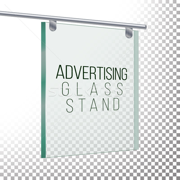 Square Advertising Glass Board. 3D Vector Realistic Illustration. Empty Glass Frame For Images Snd A Stock photo © pikepicture