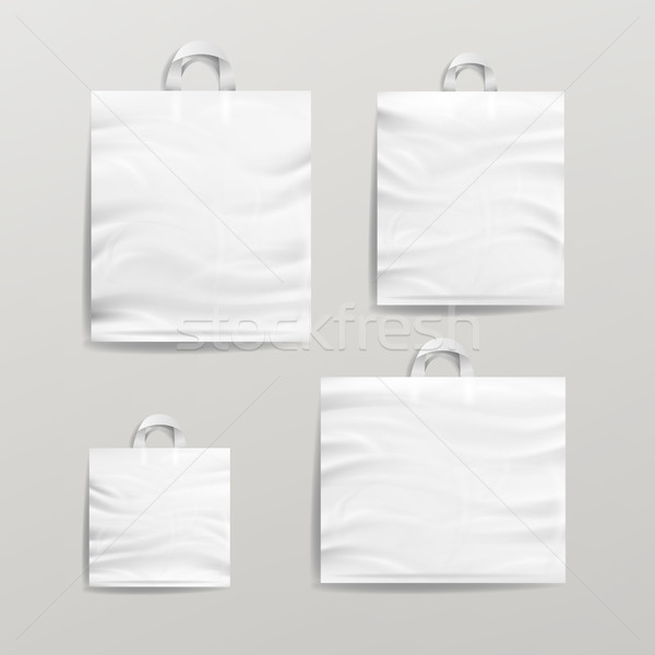 Plastic Shopping Bags Set Vector. White Empty Mock Up. Good For Package Design. Stock photo © pikepicture