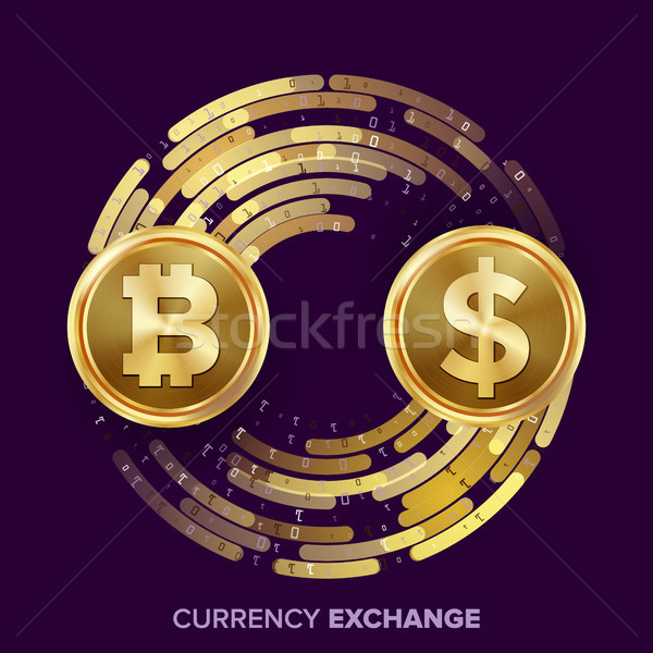 Digital Currency Money Exchange Vector. Bitcoin, Dollar. Fintech Blockchain. Gold Coins With Digital Stock photo © pikepicture