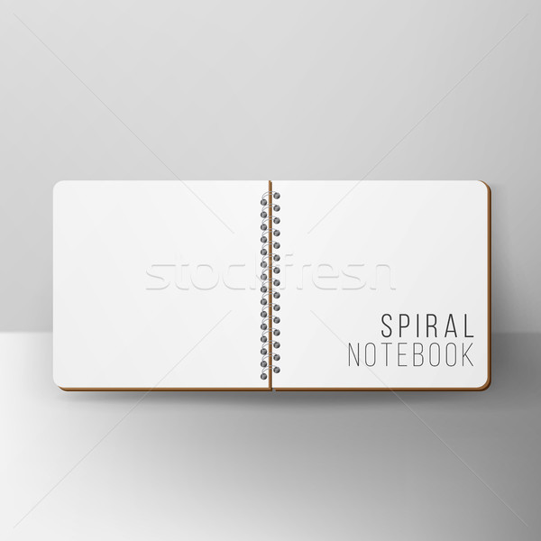 Opened Notepad Blank Vector. 3D Realistic Notebook Mockup. Blank Notebook With Clean Cover Stock photo © pikepicture