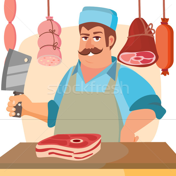 Butcher Character Vector. Classic Professional Butcher Man With Knife. For Steak, Meat Market, Store Stock photo © pikepicture
