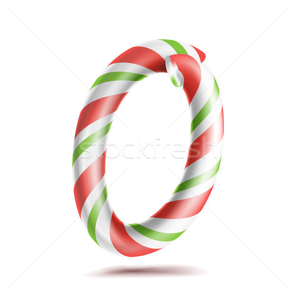 0, Number Zero Vector. 3D Number Sign. Figure 0 In Christmas Colours. Red, White, Green Striped. Cla Stock photo © pikepicture