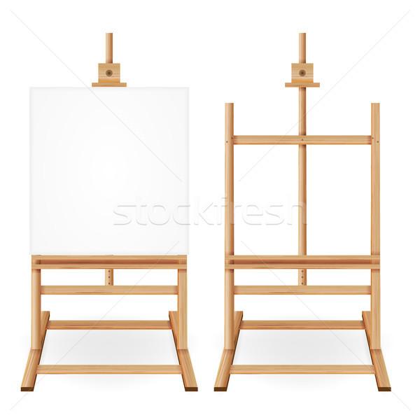 Festék asztal vektor fából készült festőállvány üres Stock fotó © pikepicture