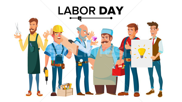 Labor Day Vector. A Group Of People Of Different Professions. Flat Isolated Cartoon Character Illust Stock photo © pikepicture