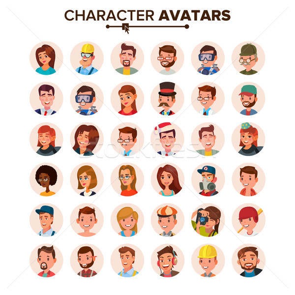 Stock photo: People Avatars Set Vector. Face, Emotions. Default Character Avatar Placeholder. Flat, Cartoon, Comi