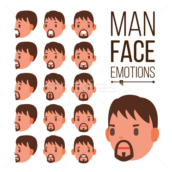 Man Emotions Vector. Young Male Face Portraits. Sport Hockey Helmet. Sadness, Anger, Rage, Surprise, Stock photo © pikepicture
