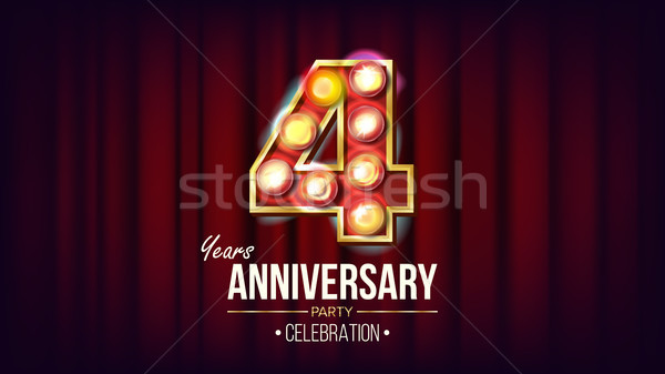 4 Years Anniversary Banner Vector. Four, Fourth Celebration. Vintage Style Illuminated Light Digits. Stock photo © pikepicture