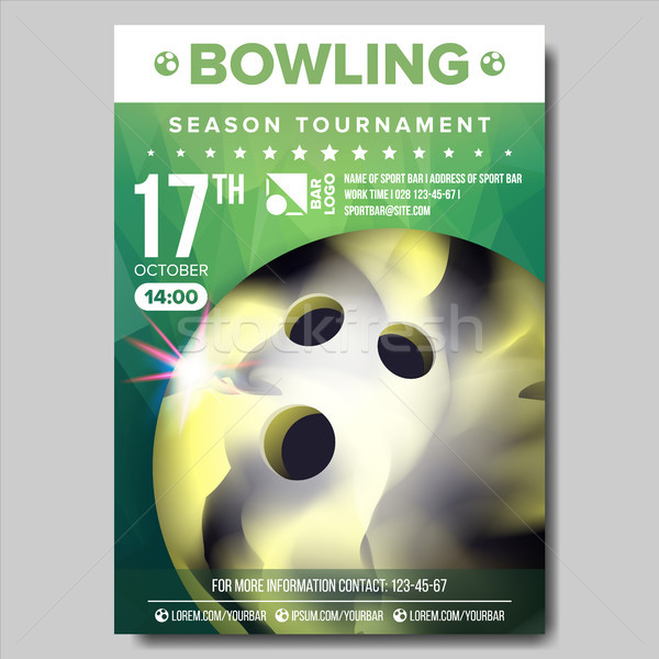 Bowling Poster Vector. Sport Event Announcement. Banner Advertising. Professional League. Vertical S Stock photo © pikepicture