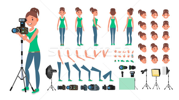 Photographer Woman Vector. Taking Pictures. Animated Female Character Set. Full Length. Accessories, Stock photo © pikepicture
