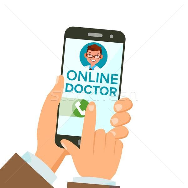 On-line médico aplicativo vetor mãos Foto stock © pikepicture