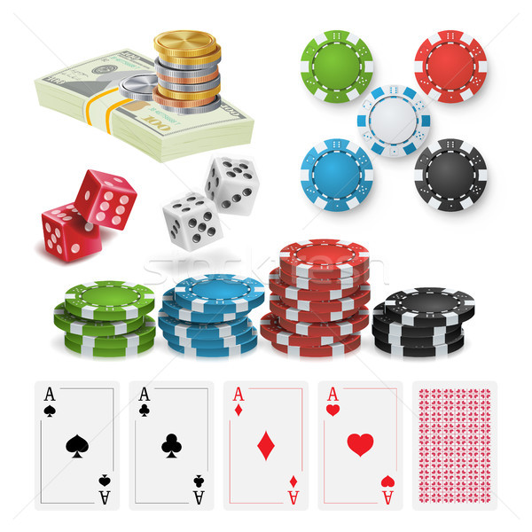 Casino Design Elements Vector. Poker Chips, Playing Cards, Craps. Isolated Illustration Stock photo © pikepicture