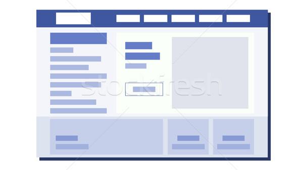 Website Flat Design Vector. UI Window. Sample Web Page Design. Illustration Stock photo © pikepicture