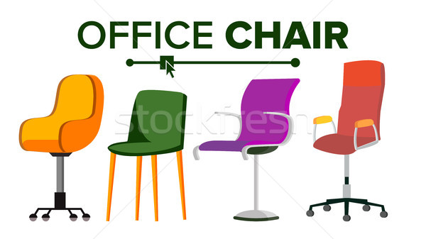 Stock photo: Chairs Vector. Furniture. Set Modern Chair Objects. House Scene Creator. Isolated Flat Illustration