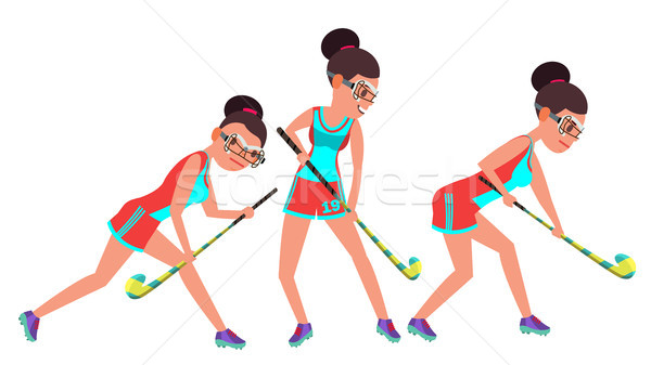 Field Hockey Female Player Vector. Dribbling Ball. In Action. Poses. Women s Grass Hockey Match. Car Stock photo © pikepicture