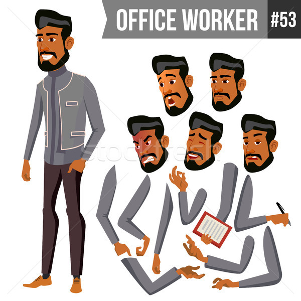 Old Arab Office Worker Vector. Traditional Clothes. Islamic. Face Emotions, Various Gestures. Animat Stock photo © pikepicture