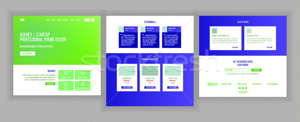Website Page Vector. Business Agency. Web Page. Design Front End Site Scheme. Landing Template. Prot Stock photo © pikepicture