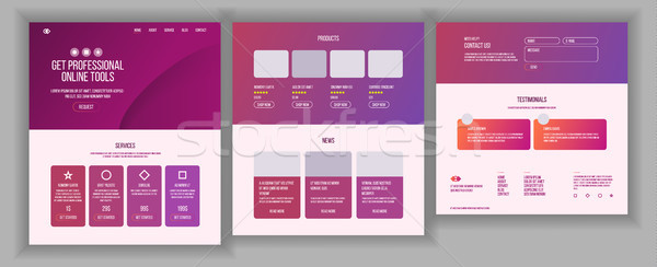 Web Page Design Vector. Website Business Style. Front End Site Scheme. Landing Template. Benefits Sc Stock photo © pikepicture