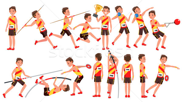 Athletics Male Player Vector. In Action. Sport Concept. Jogging Race. Sportswear. Individual Sport.  Stock photo © pikepicture