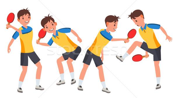 Tennis da tavolo maschio giocatore vettore giocare diverso Foto d'archivio © pikepicture