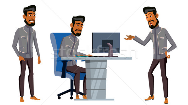 Arab Man Office Worker Vector. Business Set. Saudi, Emirates, Qatar, Uae. Face Emotions, Gestures. A Stock photo © pikepicture