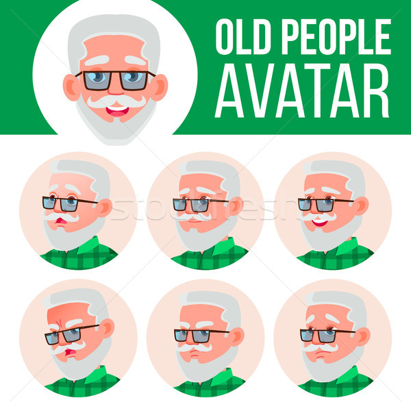 Old Man Avatar Set Vector. Face Emotions. Senior Person Portrait. Elderly People. Aged. Facial, Peop Stock photo © pikepicture