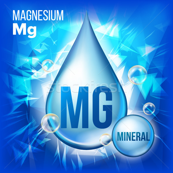 Mg Magnesium Vector. Mineral Blue Drop Icon. Vitamin Liquid Droplet Icon. Substance For Beauty, Cosm Stock photo © pikepicture