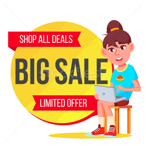 Big Sale Banner Vector. School Children, Pupil. Cartoon. Sale Banner Tag. Isolated Illustration Stock photo © pikepicture