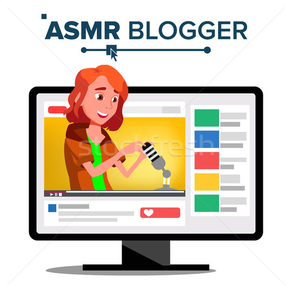 ASMR Blogger Channel Vector. Teen. Whisper. Online Live Broadcast. Isolated Illustration Stock photo © pikepicture