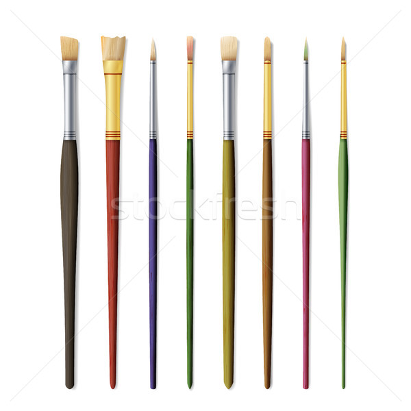 Realistic Artist Paintbrushes Set. Paint Brush Set Isolated On White Background. Vector Collection F Stock photo © pikepicture