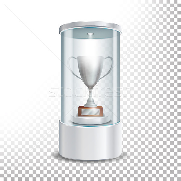 Transparent Glass Museum Showcase Podium With Silver Cup, Spotlight And Sparks. Mock Up Capsule Box  Stock photo © pikepicture