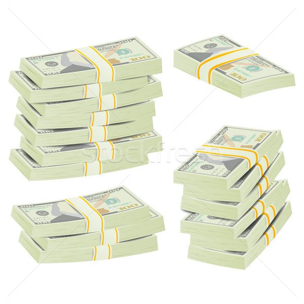 Realistic Dollar Stacks Vector. Banknotes Stock photo © pikepicture
