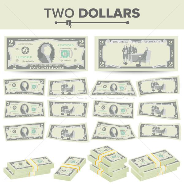 Dólares vetor desenho animado moeda dois Foto stock © pikepicture