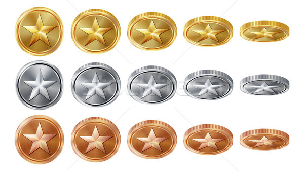 Game 3D Gold, Silver, Bronze Coins Set Vector With Star. Flip Different Angles. Achievement Coin Ico Stock photo © pikepicture