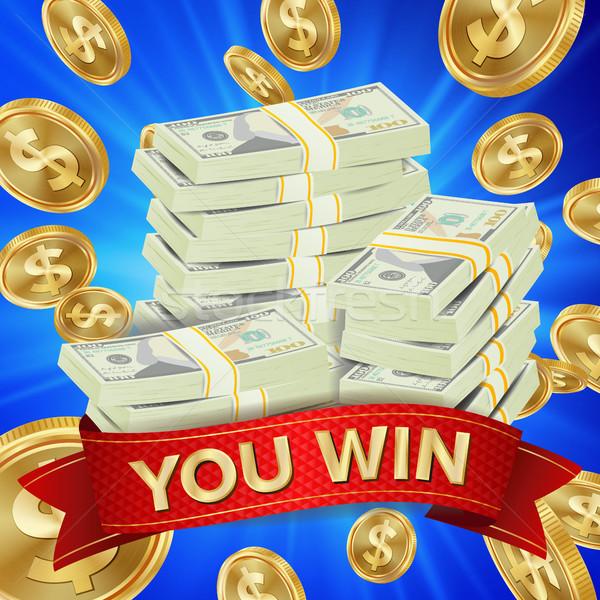 Grand gagnant vecteur pièces d'or jackpot illustration Photo stock © pikepicture