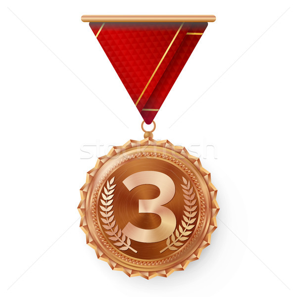 Bronze Medal Vector. Round Championship Label. Competition Challenge Award. Red Ribbon. Isolated On  Stock photo © pikepicture