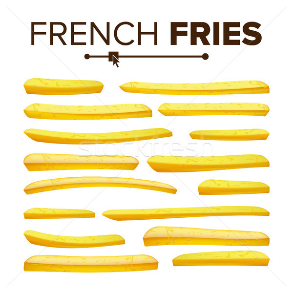 Realistic French Fries Set Vector. Classic American Fast Food Potato Stick. Design Element. Isolated Stock photo © pikepicture
