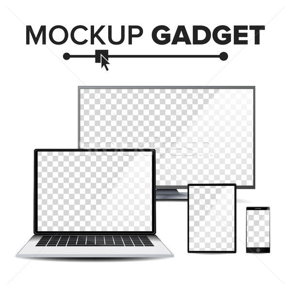 Realistic mockup gadget Vector. Computer Monitors, Modern Laptop, Touch Tablet, Mobile Smart Phone.  Stock photo © pikepicture